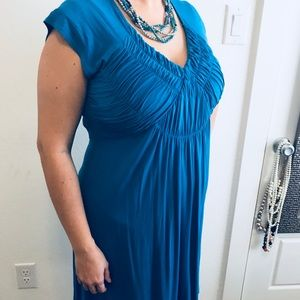 Cute deep sky blue, ruched top dress. Size M